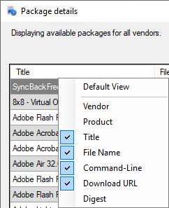 Package Details Column List