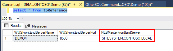 SUSDB Get NLBMasterFrontEndServer Server