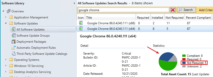 Software Update Showing as Now Applicable in SCCM Updates