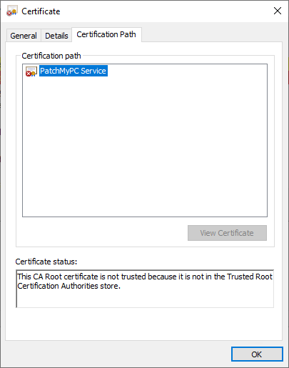 This CA Root certificate is not trusted because it is not in the Trusted Root Certification Authorities store.