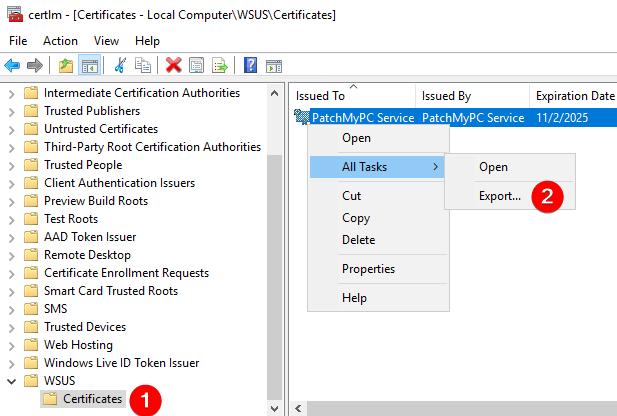 certlm.msc Export WSUS Signing Certificate