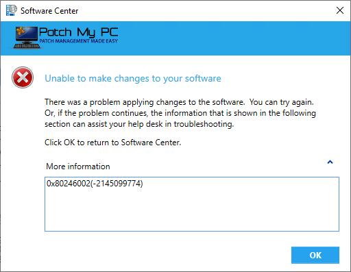 Update Error Hash for 0x80246002