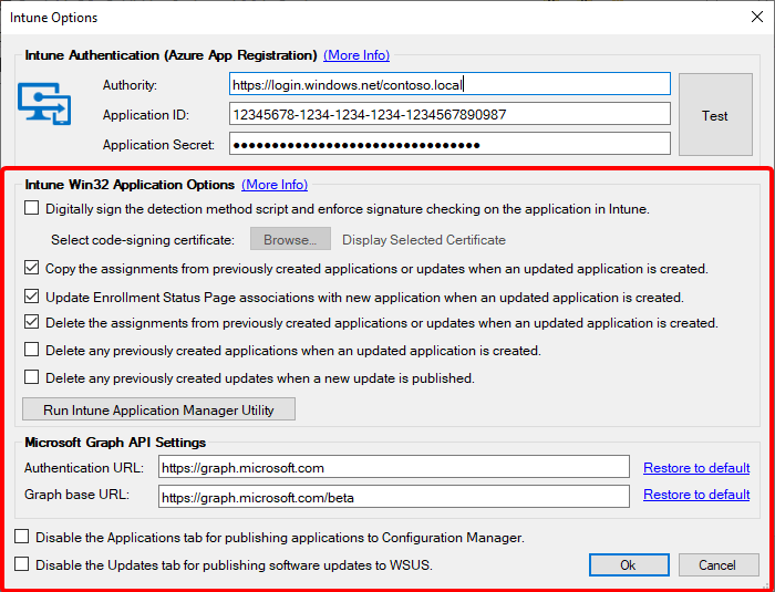 Intune Options
