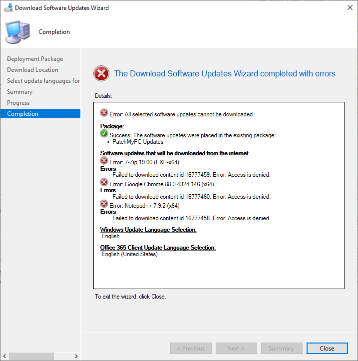 Failed to download content access denied - download wizard