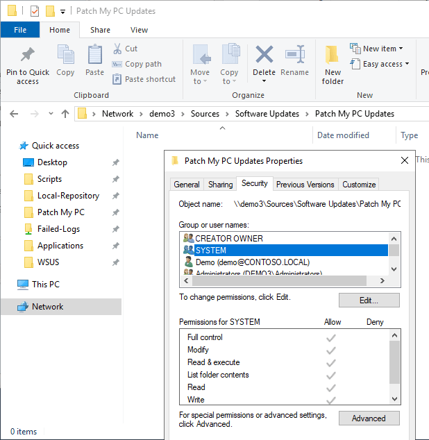 Failed to download content access denied - NTFS permissions