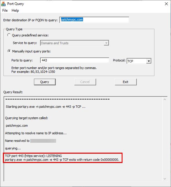 portqueryui verify port 443 to patchmypc domain