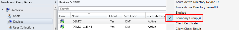 Add Boundary Group(s) column to the Devices node in SCCM