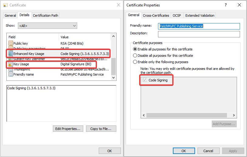 Image of Certificate and Certificate Properties window showing the proper properties for a code signing certificate