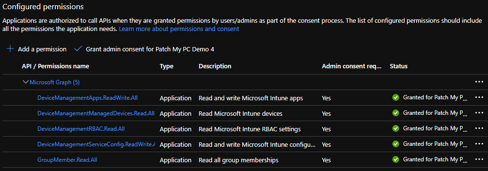 Success Added Intune App Permissions for Azure App Registration