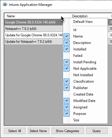 Adding more columns to the Intune Application Manager Utility view