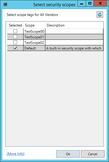 Security Scopes Selection Window