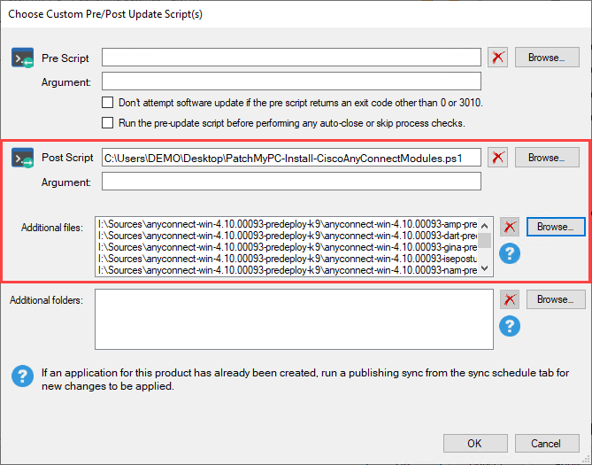 Define post script and additional files