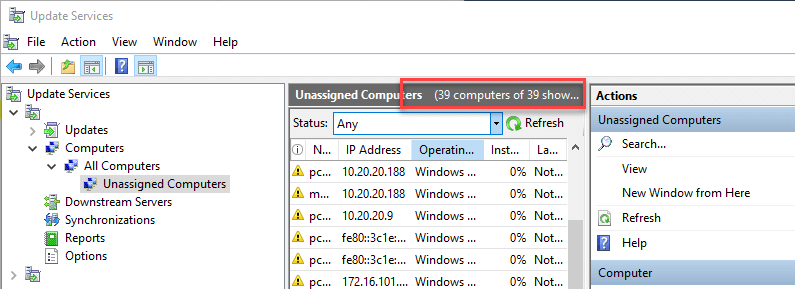 Personal Lab Subscription device count exceeded in WSUS console