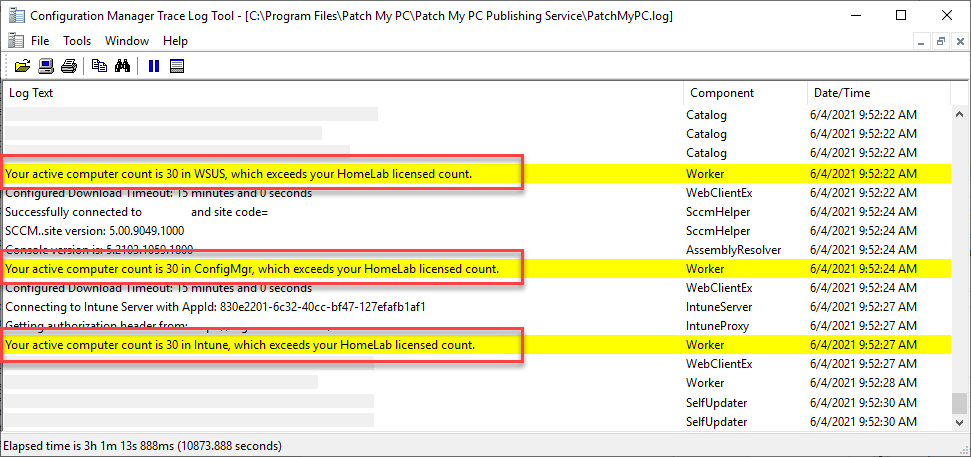 Personal Lab Subscription device count exceeded log entry in PatchMyPC.log