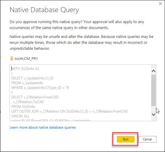 Allow Native Database Query