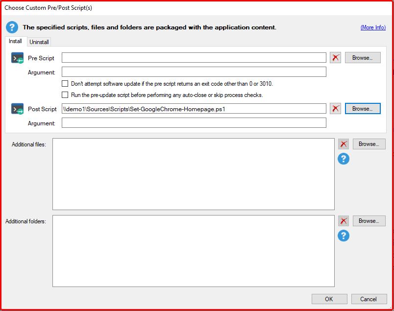 Choose Custom Pre/Post Scripts