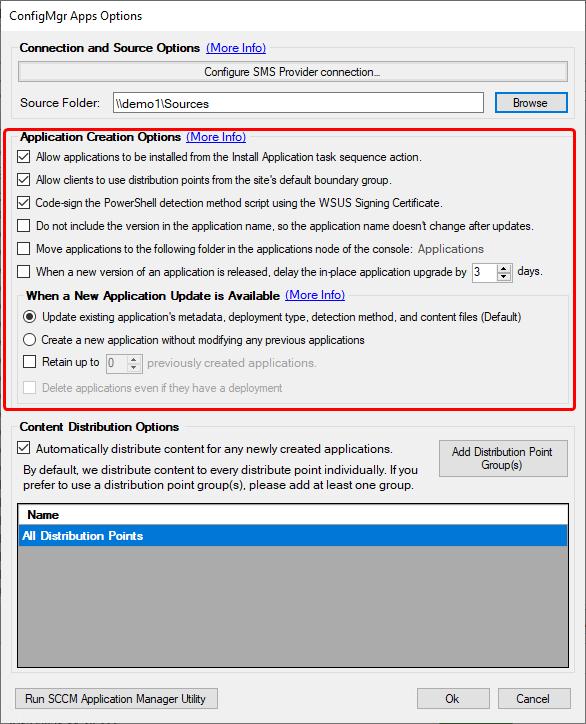 ConfigMgr App Options