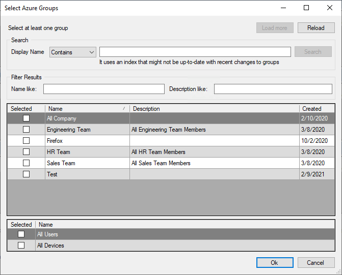 Select Azure Groups Wizard